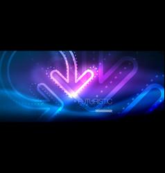 Techno neon glowing arrow background vector