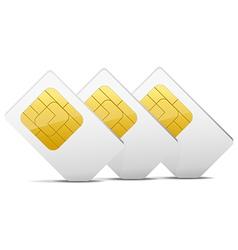 three gray white sim cards vector image