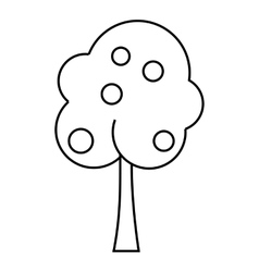 Tree with fruit icon outline style vector