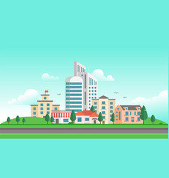 Urban landscape with a road - modern vector