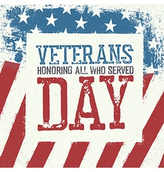 Veterans day typography on american flag vector image vector image