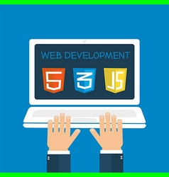 web development hands on laptop vector image