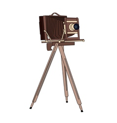 Wooden classic retro camera vector image vector image