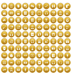 100 headphones icons set gold vector