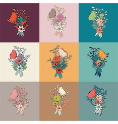 Flower bouquet collection botanical floral decor vector