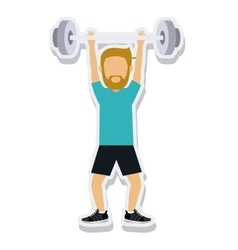 Person figure athlete weightlifting sport icon vector