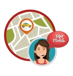 Taxi mobile call center gps vector