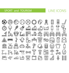 Sport and recreation flat icon set collection of vector