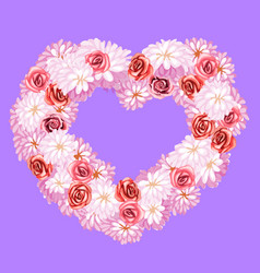 Flower wreath with roses and daisies heart shape vector