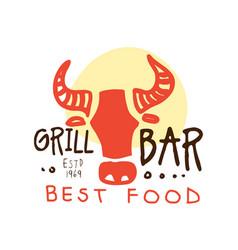 Grill bar best food logo estd 1969 template hand vector