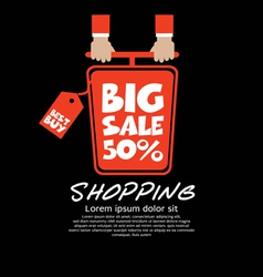 Top view shopping cart big sale concept vector