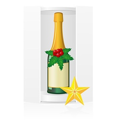 new year packing box with champagne vector image