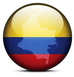 Map on flag button of republic of colombia vector