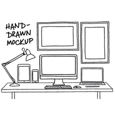 Hand-drawn studio mockup with computer vector