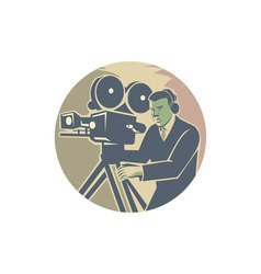 Cameraman moviemaker vintage camera retro vector