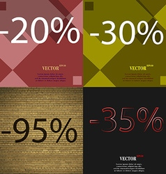 30 95 35 icon set of percent discount on abstract vector