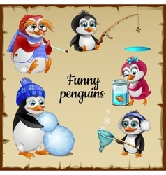 Set of five funny penguins with his hobby vector