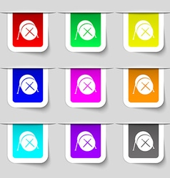 Drum icon sign set of multicolored modern labels vector
