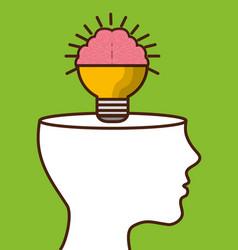 Brain bulb icon vector