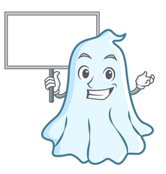 bring board cute ghost character cartoon vector image vector image
