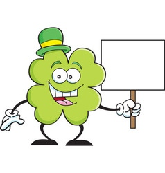 Cartoon shamrock holding a sign vector image