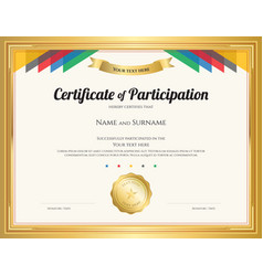 certificate of participation template with gold vector image vector image