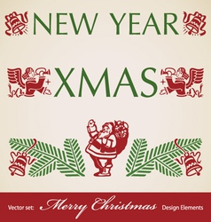 Christmas retro design elements vector image vector image