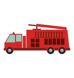 color silhouette with fire truck vector image