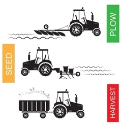 Crop growing and harvesting of agriculture vector
