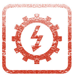 Electric energy cog wheel framed textured icon vector