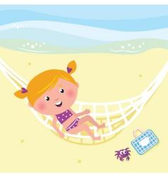 Girl relaxing in the hammock vector