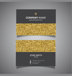 Gold glitter business card design vector