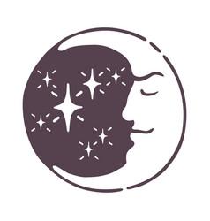 Hand drawn magic esoteric moon nature cosmos cycle vector