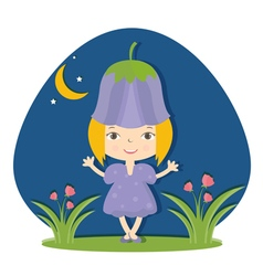 happy small girl in flower hat vector image
