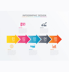 infographics arrow number 5 step template vector image