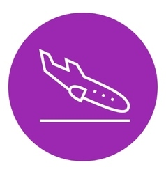 Landing aircraft line icon vector image vector image