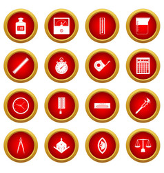 Measure precision icon red circle set vector