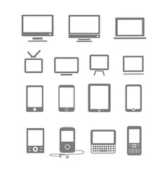 modern and vintage mobile gadgets and monitors vector image