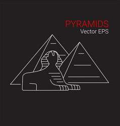printsphinx and pyramid egypt line icon vector image vector image