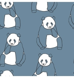 Seamless pattern with panda holding cub vector image