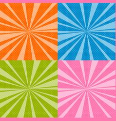 set of pop art retro background with sunbeams vector image
