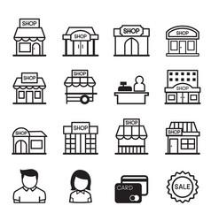 Shop building icon set vector