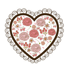 Silhouette heart with decorative frame and vector