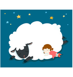 sleeping girl with fluffy sheep vector image vector image
