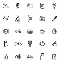 Slow life activity line icons on white background vector