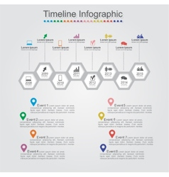 Timeline infographics with cell elements icons vector image vector image