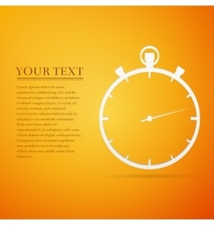 Timer flat icon on orange background vector