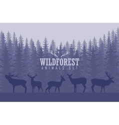with trees and deer silhouettes vector image