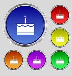 Birthday cake icon sign round symbol on bright vector