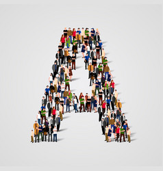 large group of people in letter a form vector image